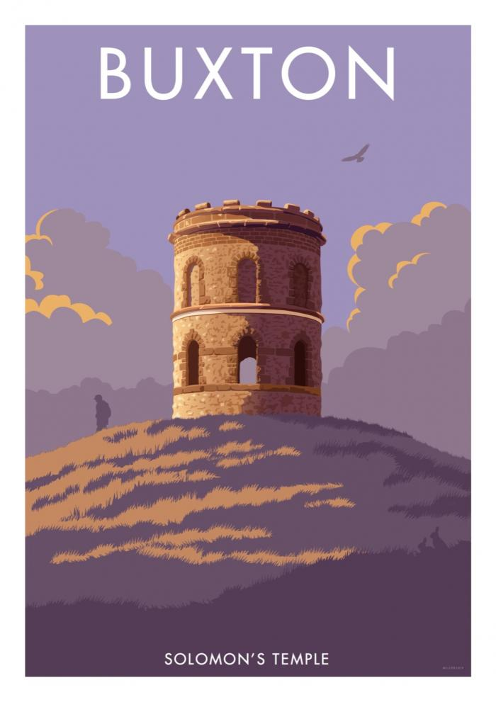 Place in Print Stephen Millership Buxton Solomon's Temple Travel Poster Travel Poster Art Print