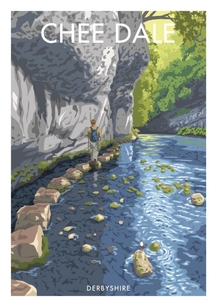 Place in Print Stephen Millership Chee Dale Derbyshire Travel Poster Travel Poster Art Print