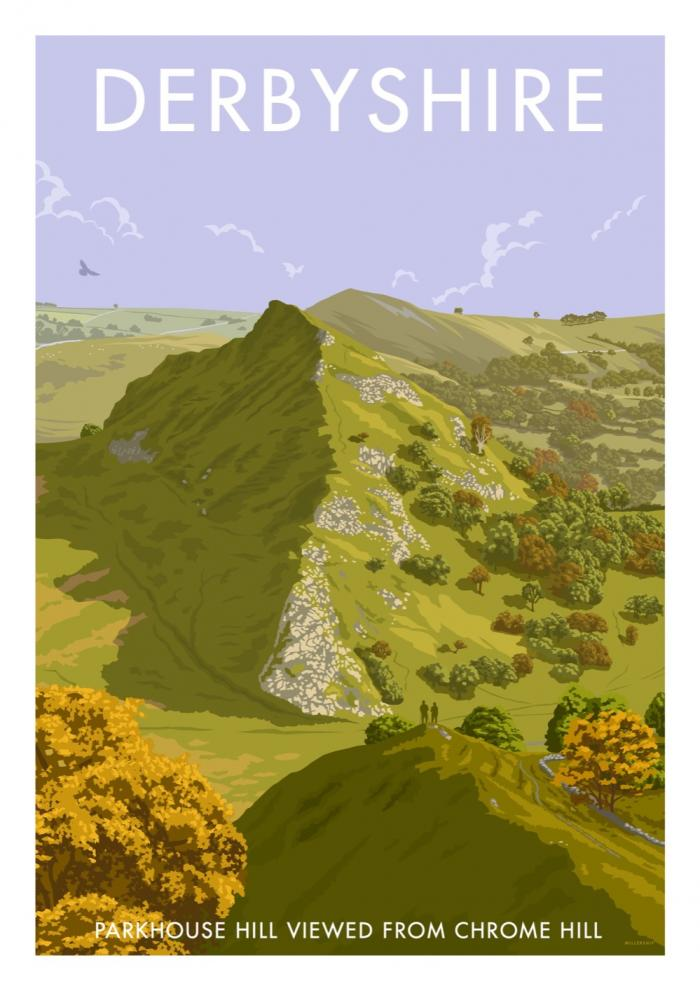 Place in Print Stephen Millership Derbyshire Parkhouse Hill Travel Poster Travel Poster Art Print