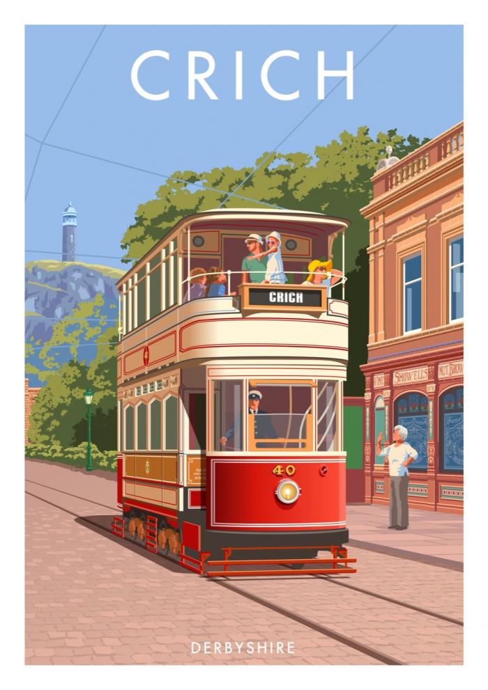 Place in Print Stephen Millership Crich Derbyshire Travel Poster Travel Poster Art Print