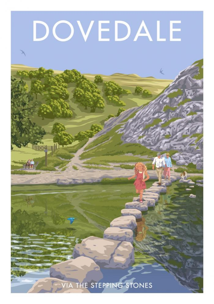 Place in Print Stephen Millership Dovedale Stepping Stones Travel Poster Travel Poster Art Print