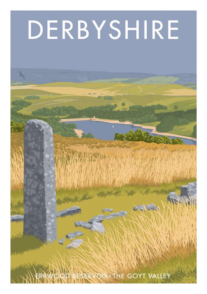 Place in Print Stephen Millership Derbyshire Errwood Reservoir Travel Poster Travel Poster Art Print
