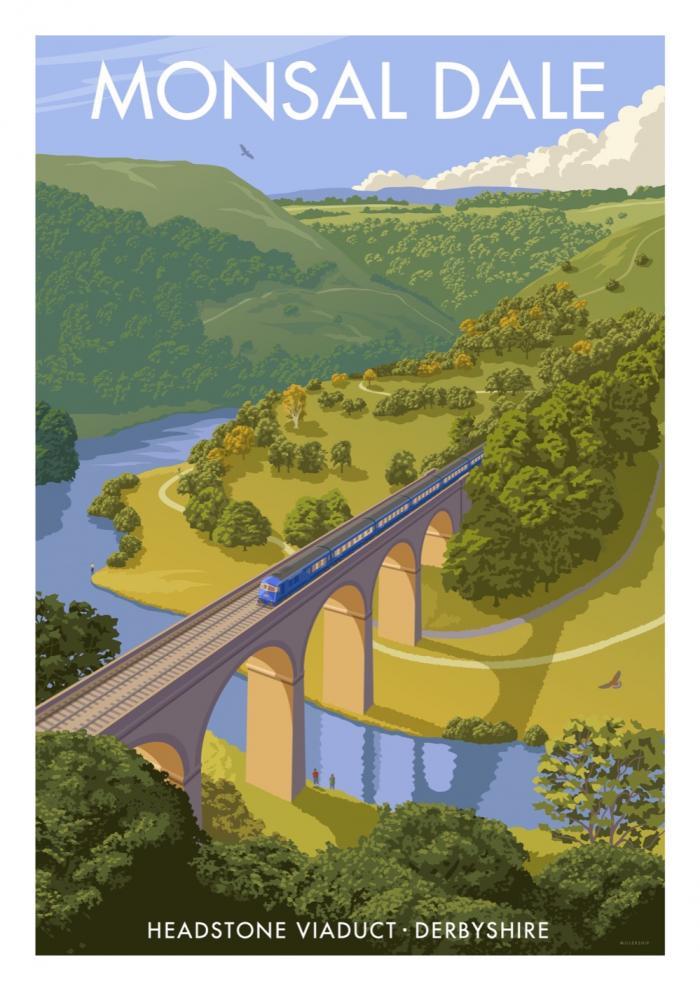 Place in Print Stephen Millership Monsal Dale Derbyshire Travel Poster Travel Poster Art Print