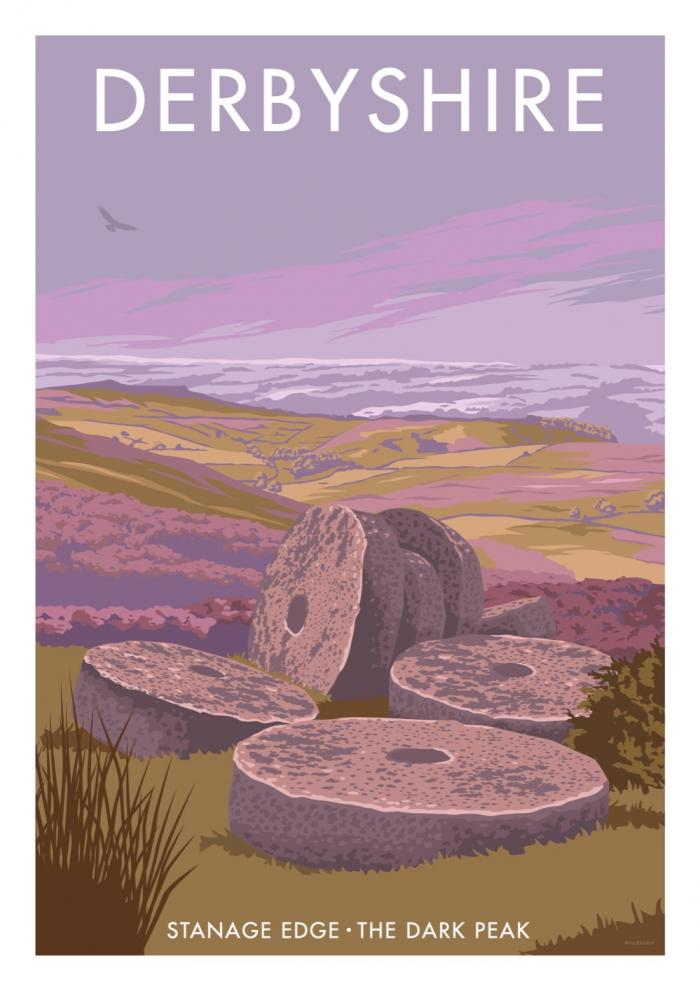 Place in Print Stephen Millership Derbyshire Stanage Edge Travel Poster Travel Poster Art Print