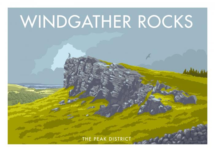 Place in Print Stephen Millership Wingather Rocks The Peak District Travel Poster Travel Poster Art Print