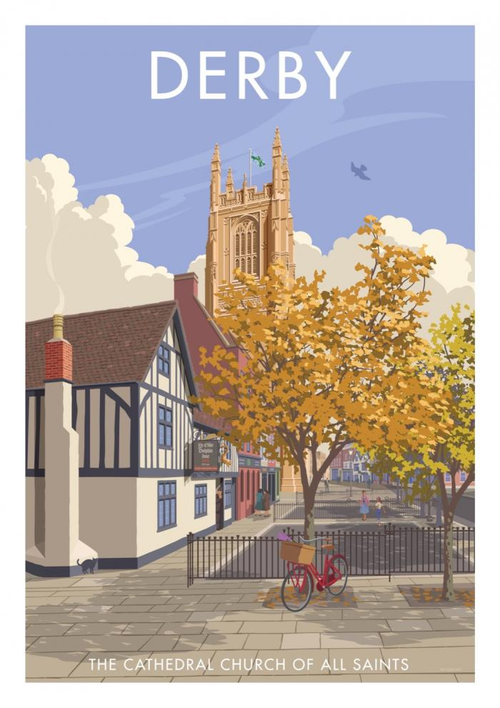 Place in Print Stephen Millership Derby Cathedral Travel Poster Travel Poster Art Print