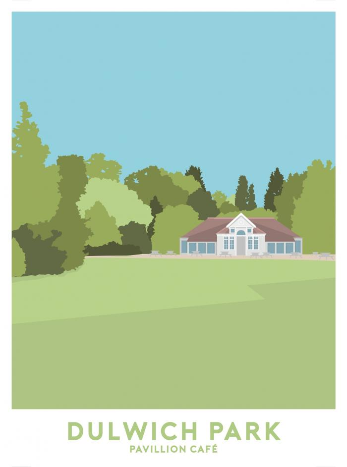 Place in Print Dulwich Park Pavillion Cafe Travel Poster Art Print