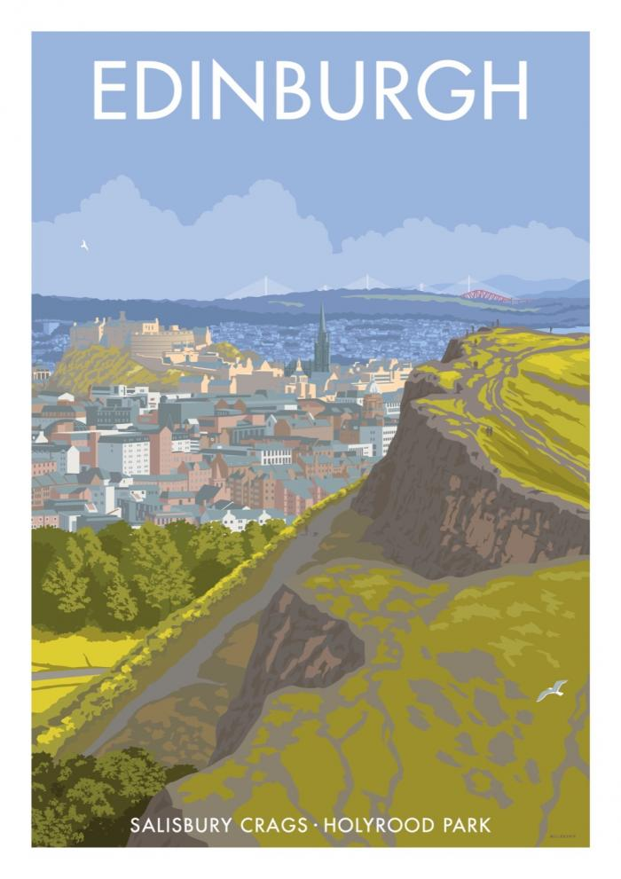 Place in Print Stephen Millership Edinburgh Salisbury Crags Travel Poster Travel Poster Art Print