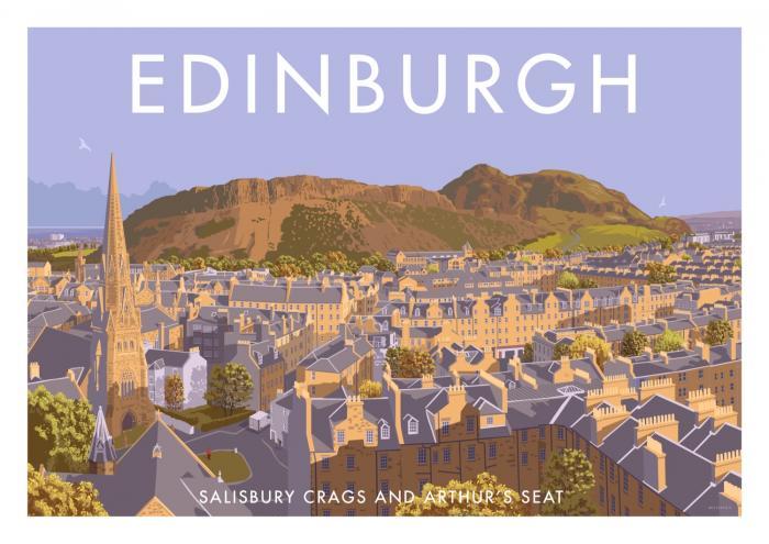 Place in Print Stephen Millership Edinburgh Salisbury Crags Winter Travel Poster Travel Poster Art Print
