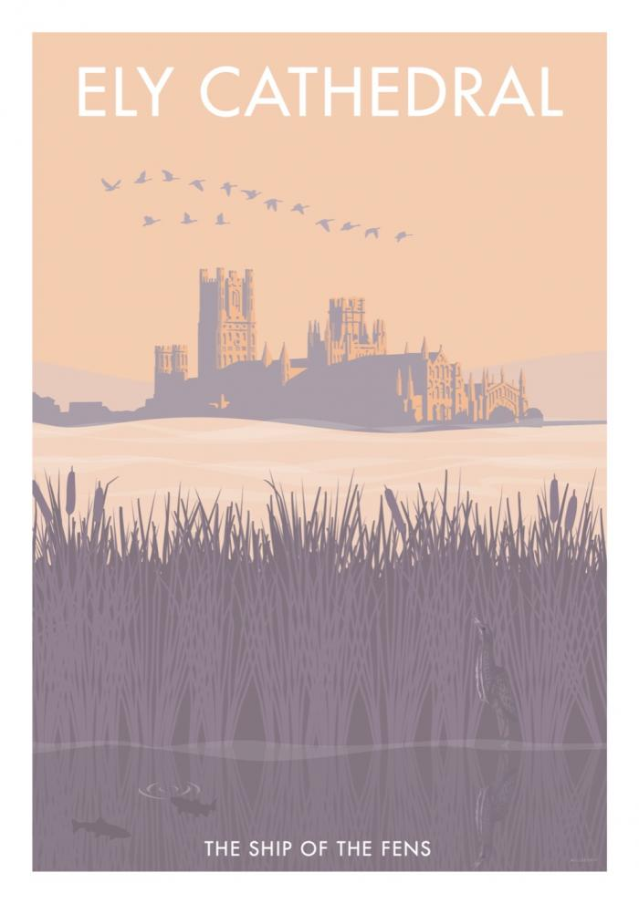 Place in Print Stephen Millership Ely Cathedral Travel Poster Travel Poster Art Print