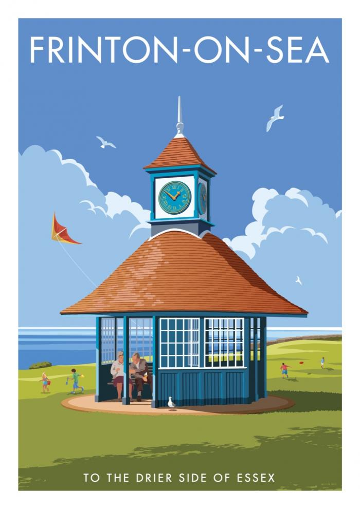 Place in Print Stephen Millership Frinton-on-Sea Clock Travel Poster Travel Poster Art Print