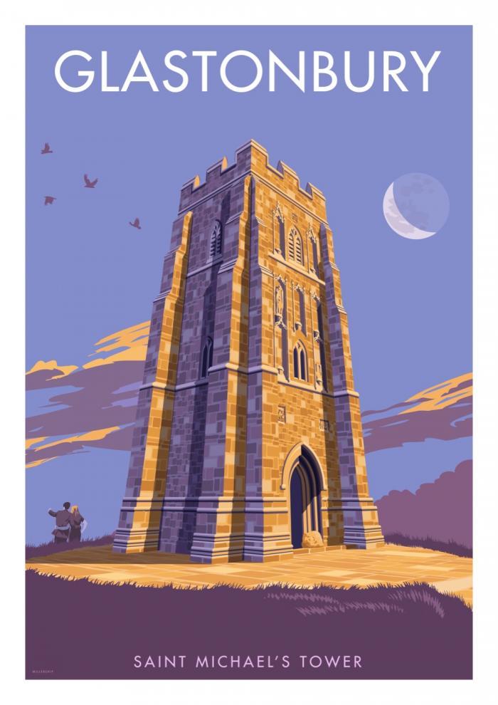 Place in Print Stephen Millership Glastonbury Tor Travel Poster Travel Poster Art Print