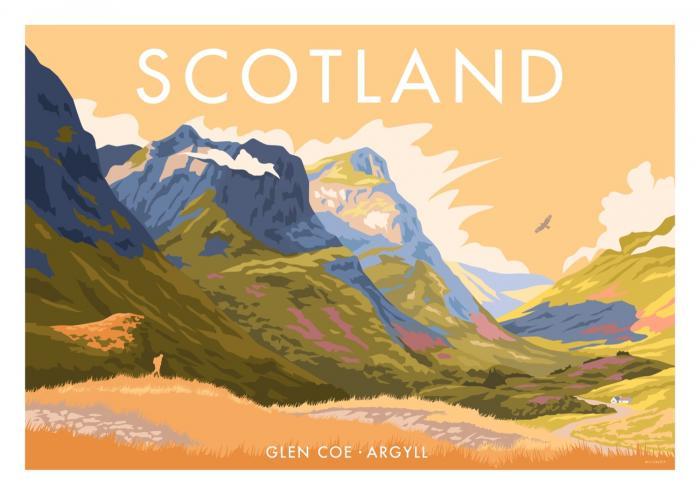 Place in Print Stephen Millership Scotland Glen Coe Travel Poster Travel Poster Art Print