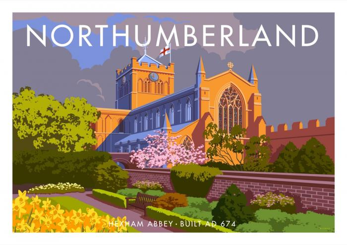 Place in Print Stephen Millership Northumberland Hexham Abbey Travel Poster Travel Poster Art Print