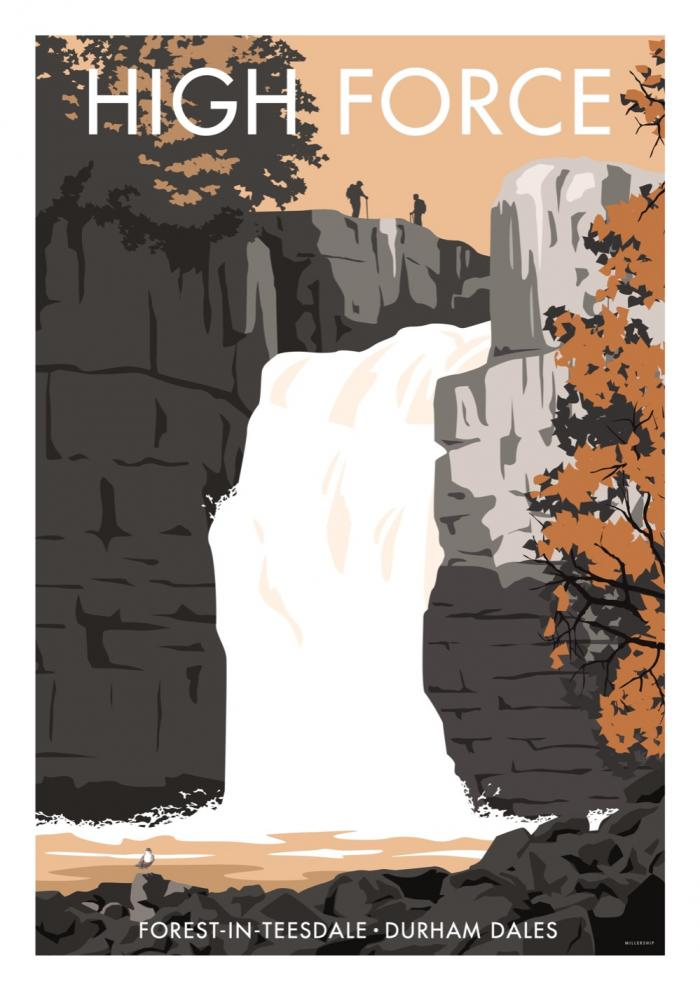 Place in Print Stephen Millership High Force Durham Dales Travel Poster Travel Poster Art Print
