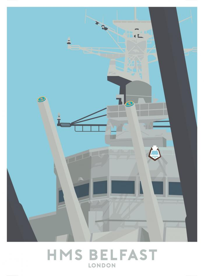 Place in Print HMS Belfast Travel Poster Art Print