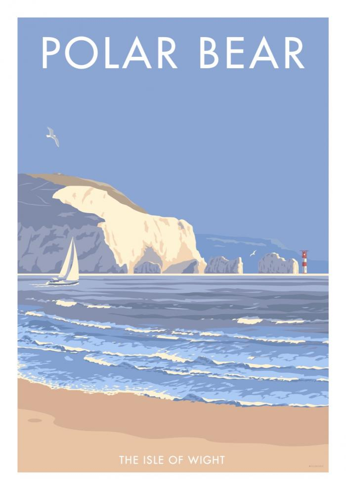 Place in Print Stephen Millership Polar Bear Isle of Wight Travel Poster Travel Poster Art Print