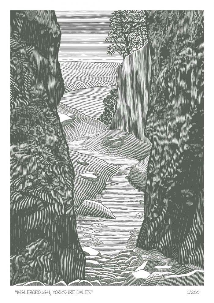 Place in Print John Morris Ingleborough, Yorkshire Dales Limited Edition Art Print