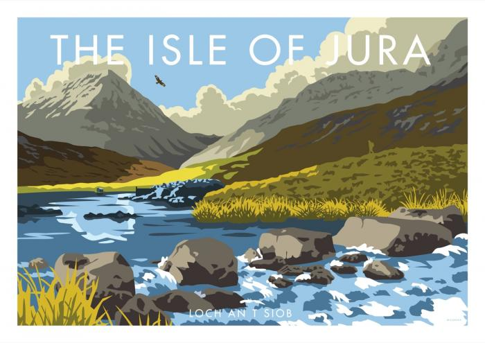 Place in Print Stephen Millership Isle of Jura Loch an t-Siob Travel Poster Travel Poster Art Print