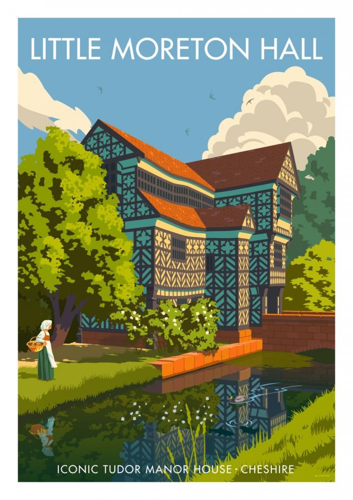 Place in Print Stephen Millership Little Moreton Hall Cheshire Travel Poster Travel Poster Art Print
