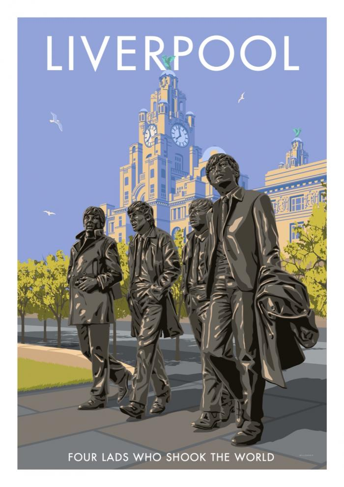 Place in Print Stephen Millership Liverpool Four Lads Travel Poster Travel Poster Art Print