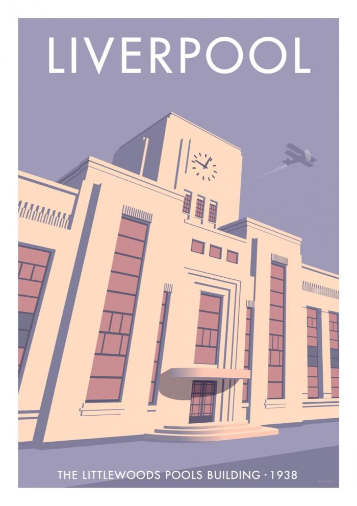 Place in Print Stephen Millership Liverpool Littlewoods Pools Building Travel Poster Travel Poster Art Print