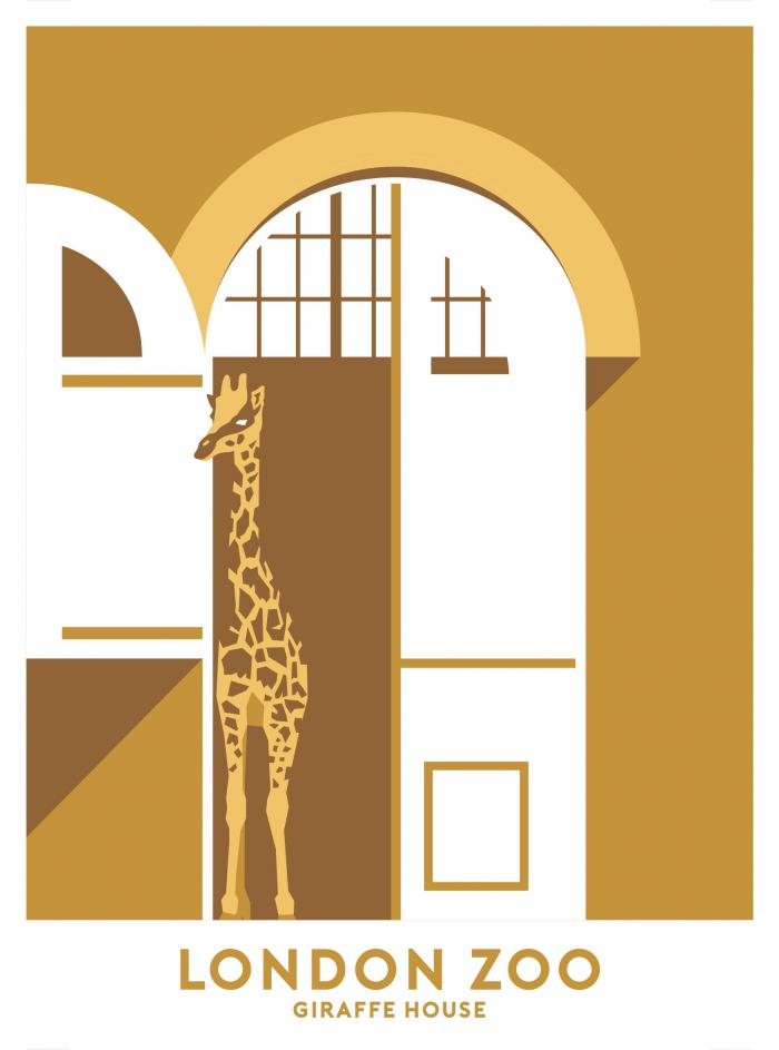 Place in Print London Zoo Giraffe House Travel Poster Art Print