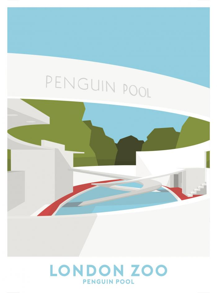 Place in Print London Zoo Penguin Pool Travel Poster Art Print