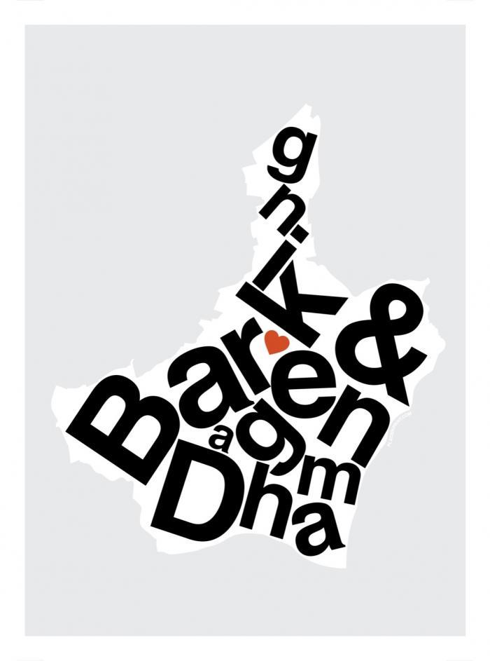 Place in Print Barking and Dagenham Helvetica Type Map Art Print