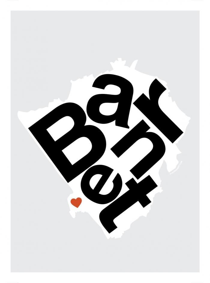 Place in Print Barnet Helvetica Type Map Art Print