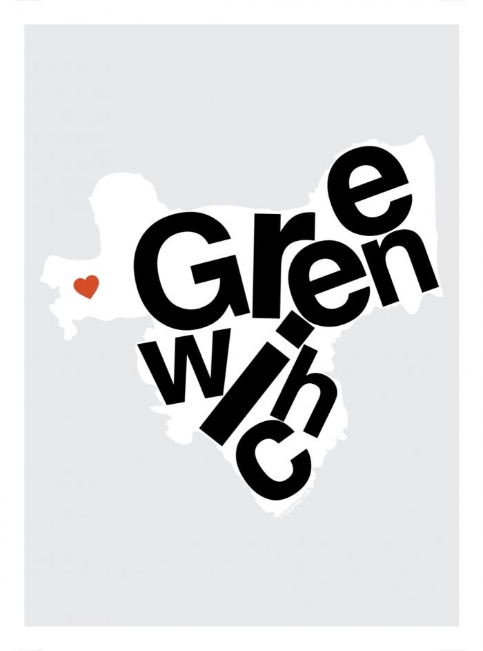 Place in Print Greenwich Helvetica Type Map Art Print