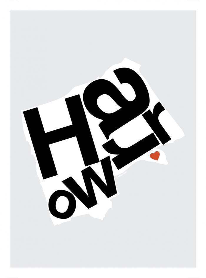 Place in Print Harrow Helvetica Type Map Art Print