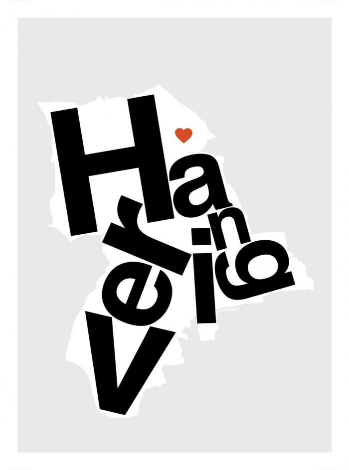 Place in Print Havering Helvetica Type Map Art Print