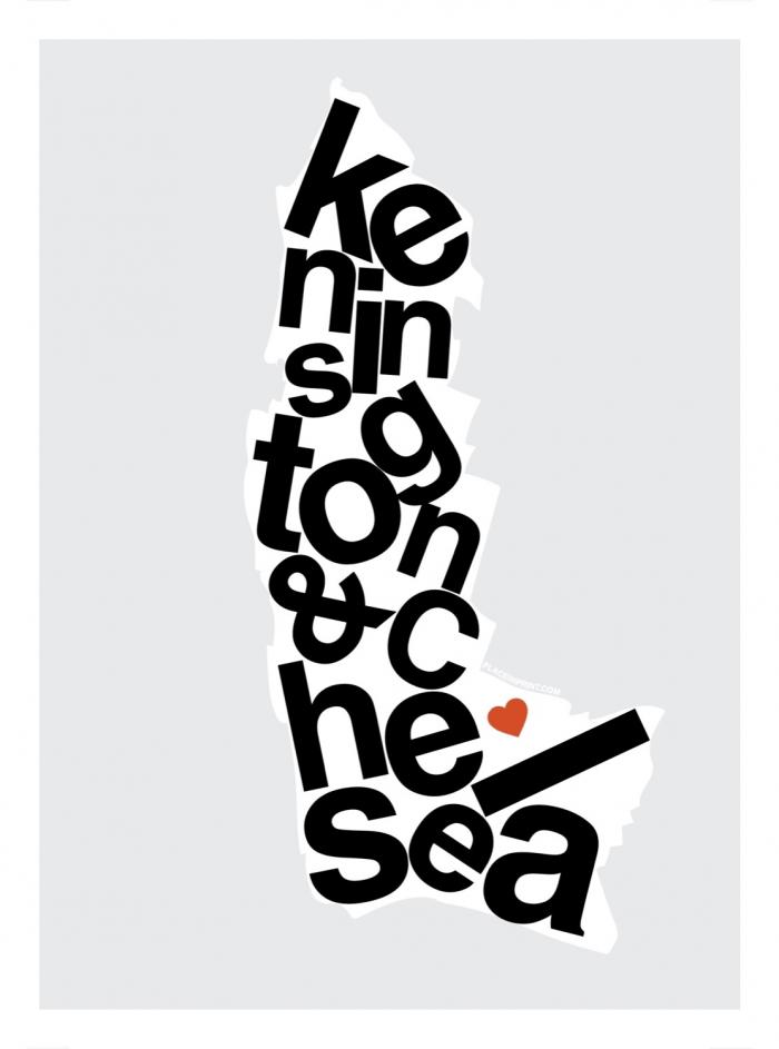 Place in Print Kensington and Chelsea Helvetica Type Map Art Print