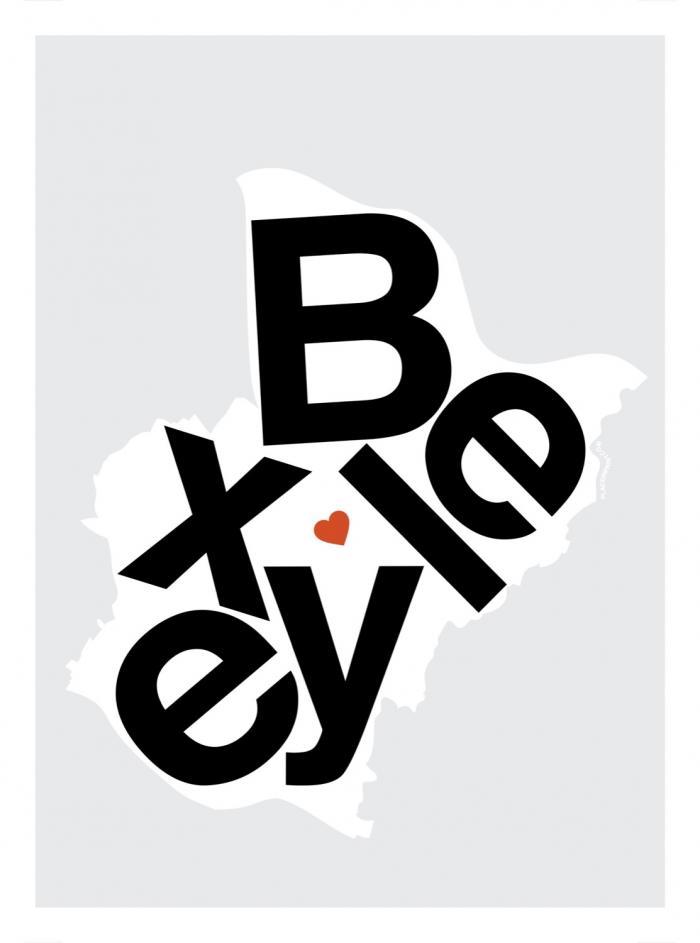 Place in Print Bexley Helvetica Type Map Art Print
