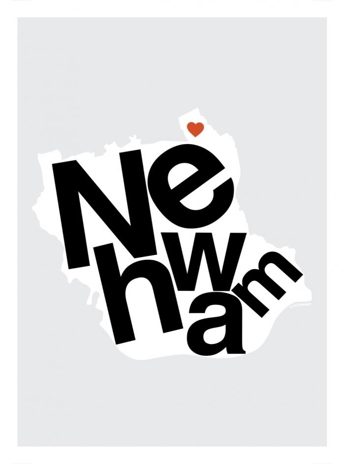 Place in Print Newham Helvetica Type Map Art Print