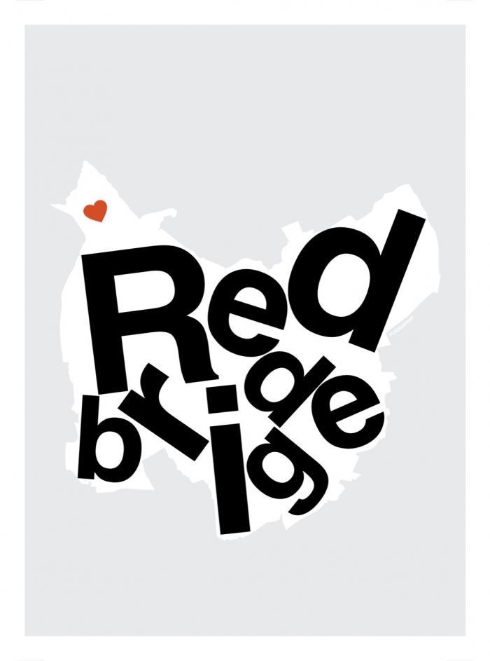 Place in Print Redbridge Helvetica Type Map Art Print