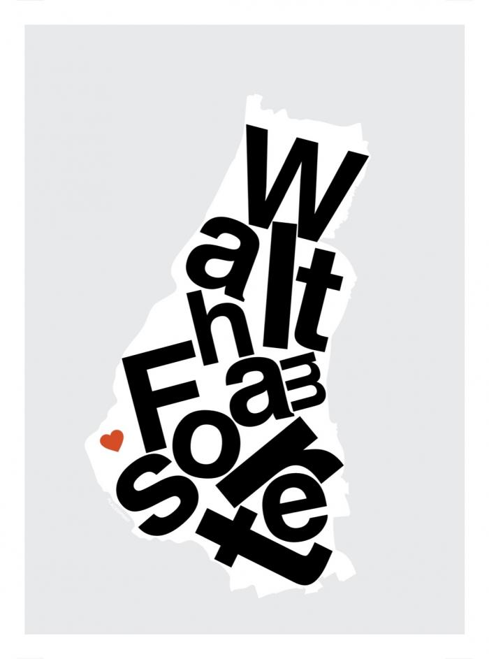 Place in Print Waltham Forest Helvetica Type Map Art Print