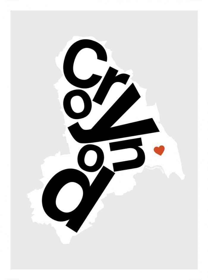 Place in Print Croydon Helvetica Type Map Art Print
