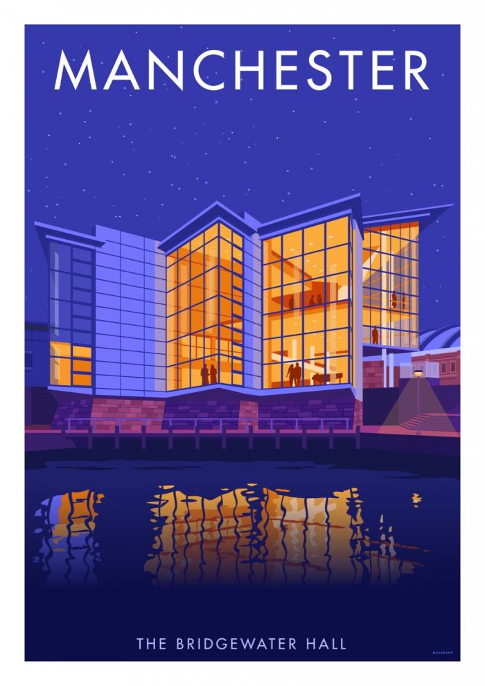 Place in Print Stephen Millership Manchester Bridgewater Hall Travel Poster Travel Poster Art Print