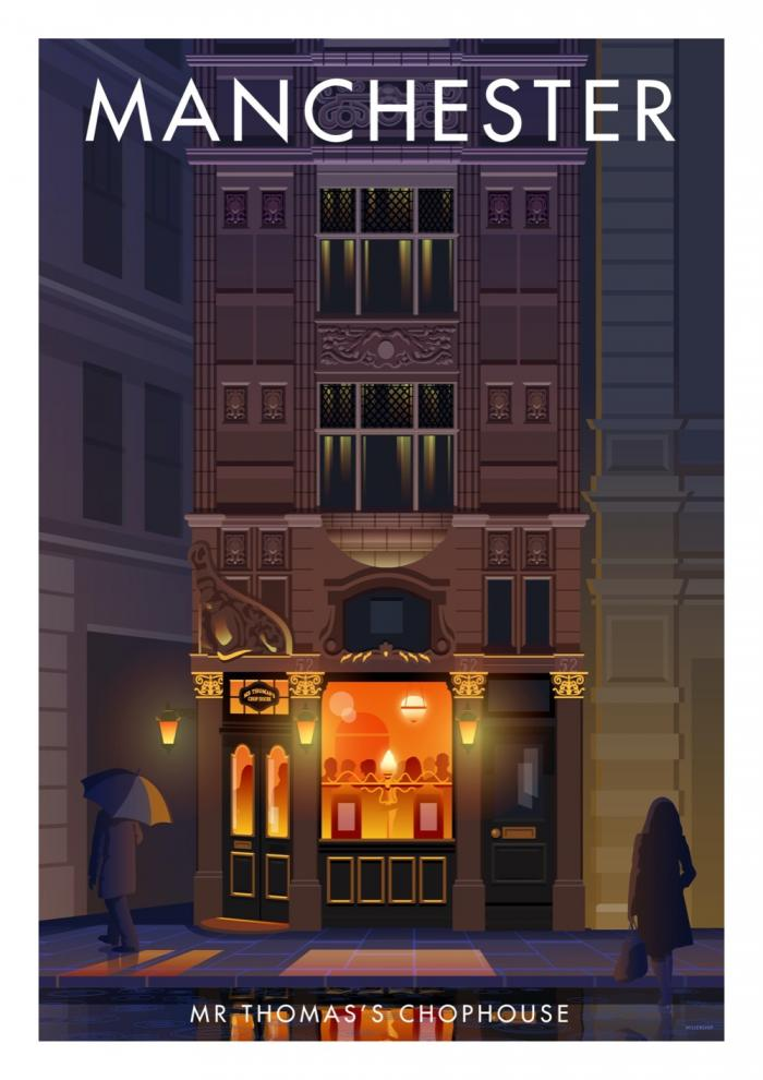 Place in Print Stephen Millership Manchester Mr Thomass Chophouse Travel Poster Travel Poster Art Print
