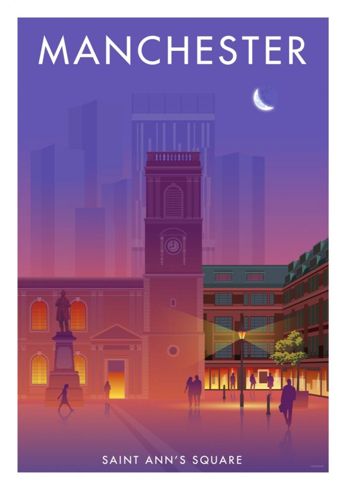 Place in Print Stephen Millership Manchester Saint Ann's Square Travel Poster Travel Poster Art Print