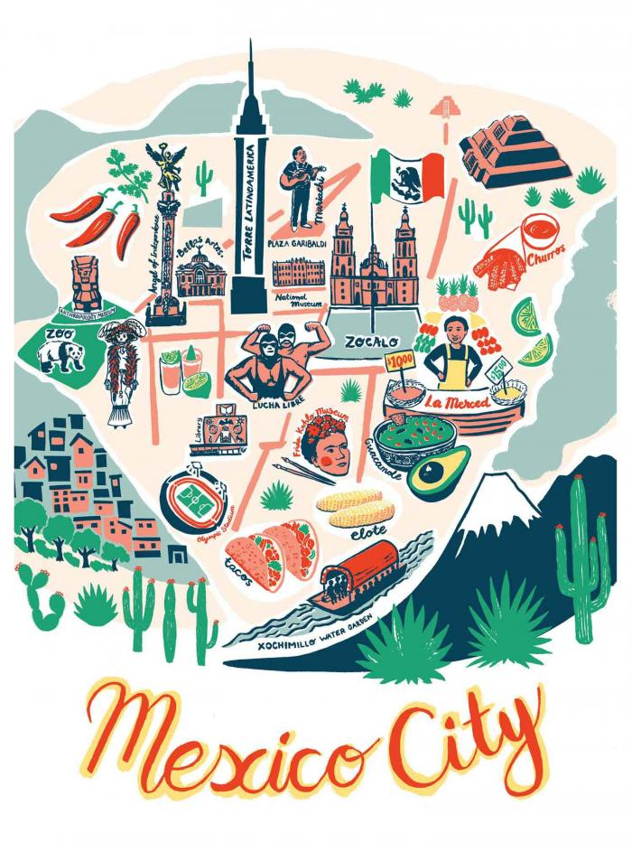 Place in Print Olivia Brotheridge Mexico City Map Art Print