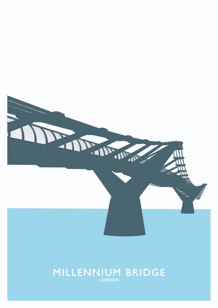 Place in Print Millennium Bridge London Travel Poster Art Print