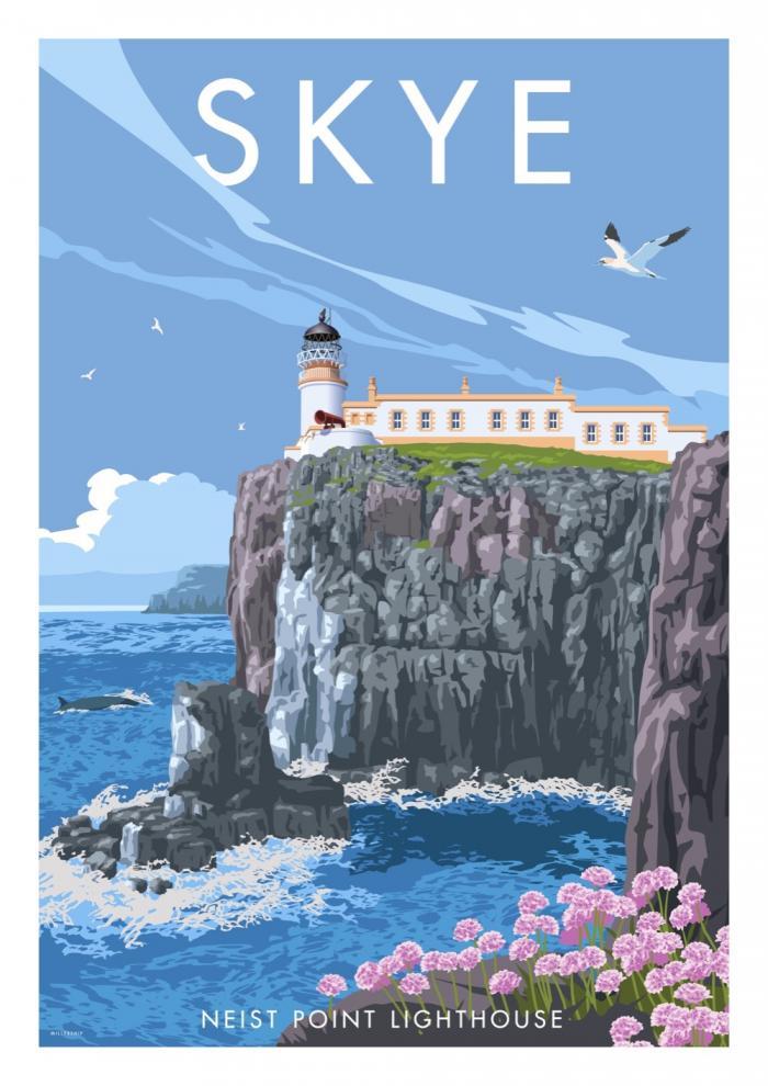 Place in Print Stephen Millership Skye Neist Point Lighthouse Travel Poster Travel Poster Art Print