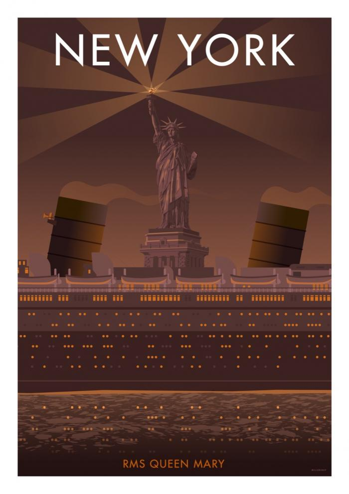 Place in Print Stephen Millership New York RMS Queen Mary Travel Poster Travel Poster Art Print