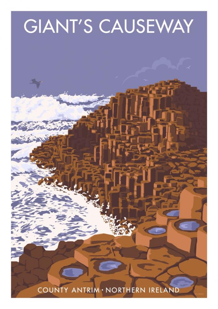 Place in Print Stephen Millership Giants Causeway Northern Ireland Travel Poster Travel Poster Art Print