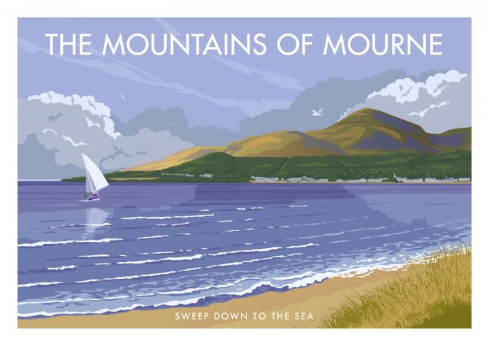 Place in Print Stephen Millership The Mountains of Mourne Travel Poster Travel Poster Art Print