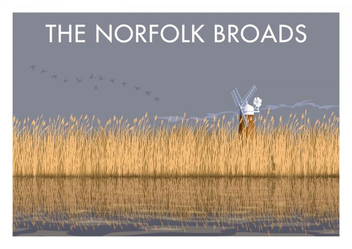 Place in Print Stephen Millership The Norfolk Broads Travel Poster Travel Poster Art Print