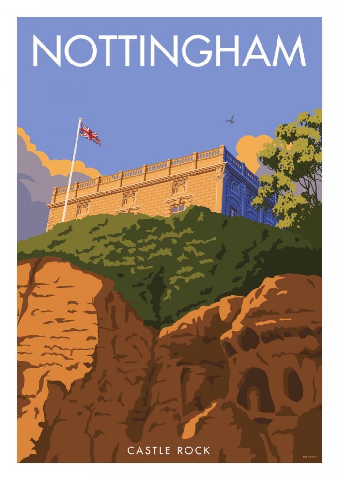Place in Print Stephen Millership Nottingham Castle Rock Travel Poster Travel Poster Art Print